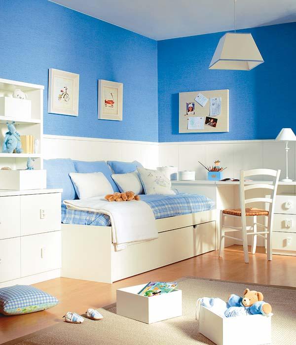Dormitorio infantil celeste y blanco de dormitorios - Dormitorio infantil blanco ...