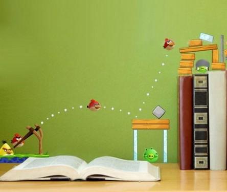 Decoraci n e ideas para mi hogar dormitorio tem tico for Angry bird mural