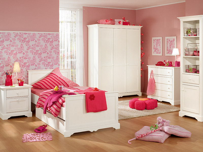 Habitacion rosa y blanca dormitorios infantiles for Muebles para recamara de nina