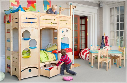 Camas loft de madera natural dormitorios infantiles - Fotos de lofts decorados ...