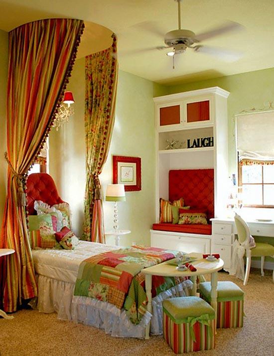 dormitorio infantil rojo y verde